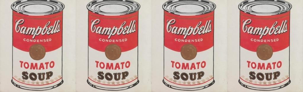 branding creation logo plv identité de marque Campbell soupe tomate boite de conserve