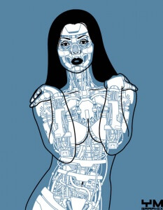 android robot pin up yves jose malgorn