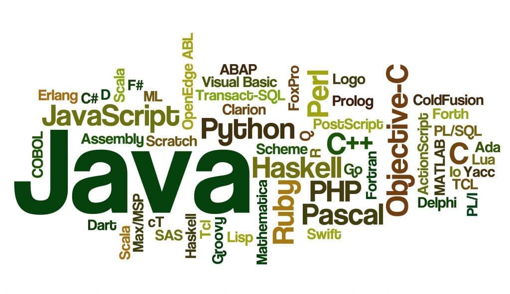 Différents langages informatiques Java CSS PHP