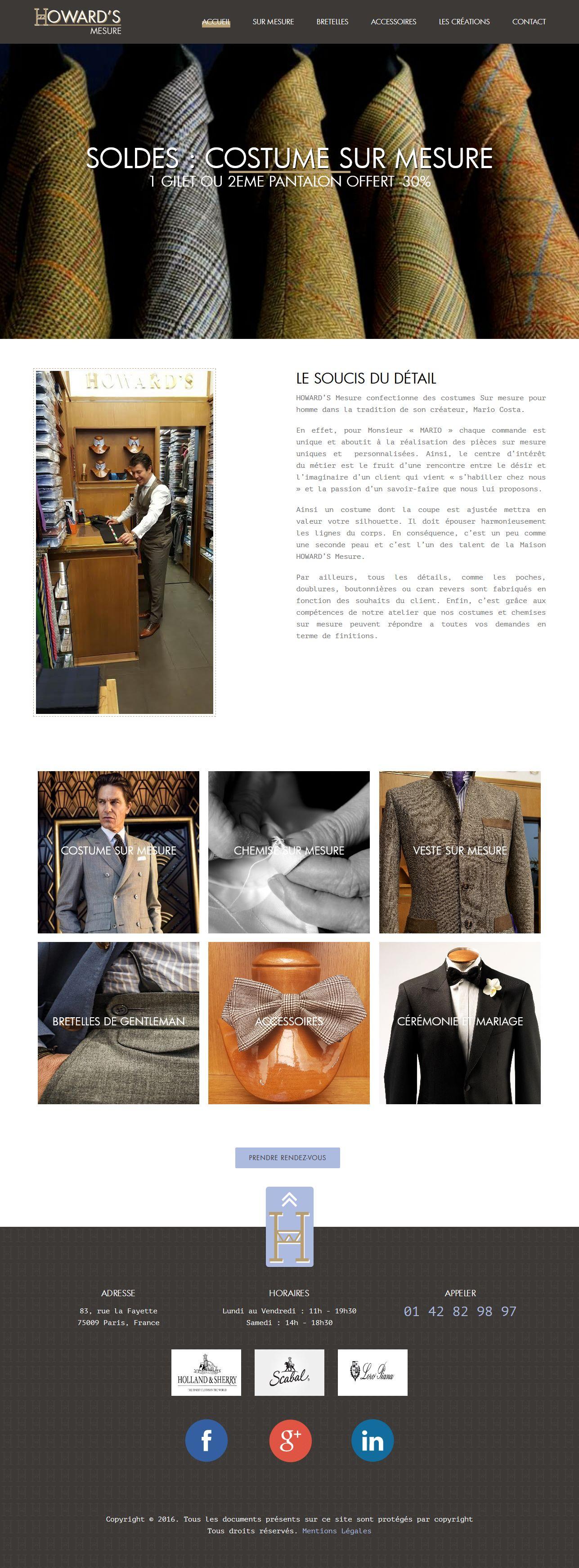 Howard's Costume' - site web vitrine créé par GeekArts