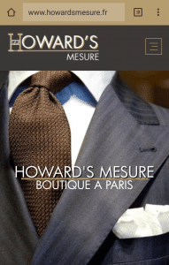 Howard's mesure tailleur de costume site web